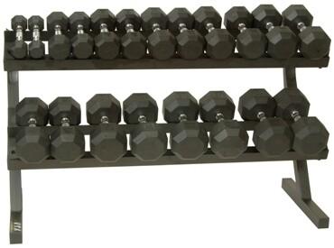 """VTX Rubber Dumbbells """"10-Pair Horizontal Rack"""" Pack"""