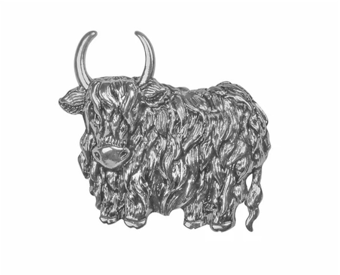 Rhodium Highland Cow Brooch - IBRO0875