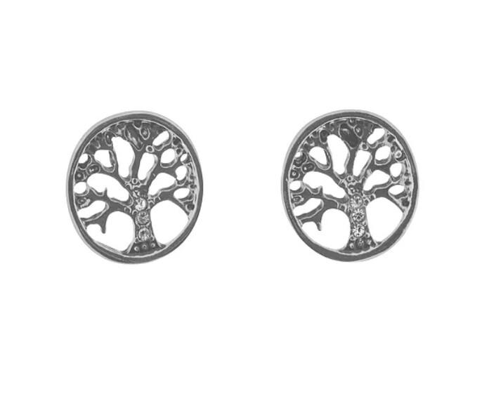 A.Rhod Crystal Tree Of Life Stud Earring - IEAR0705
