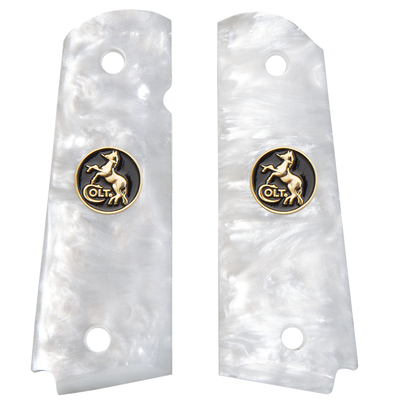 1911 Full Size White Pearlite with Colt Black/Gold Coin Inlay