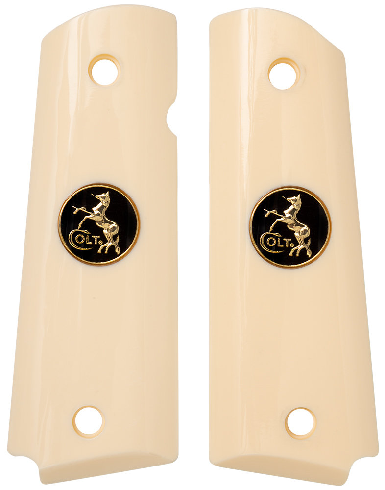 1911 Full Sized Ivory Polymer with Colt Black/Gold Coin Inlay