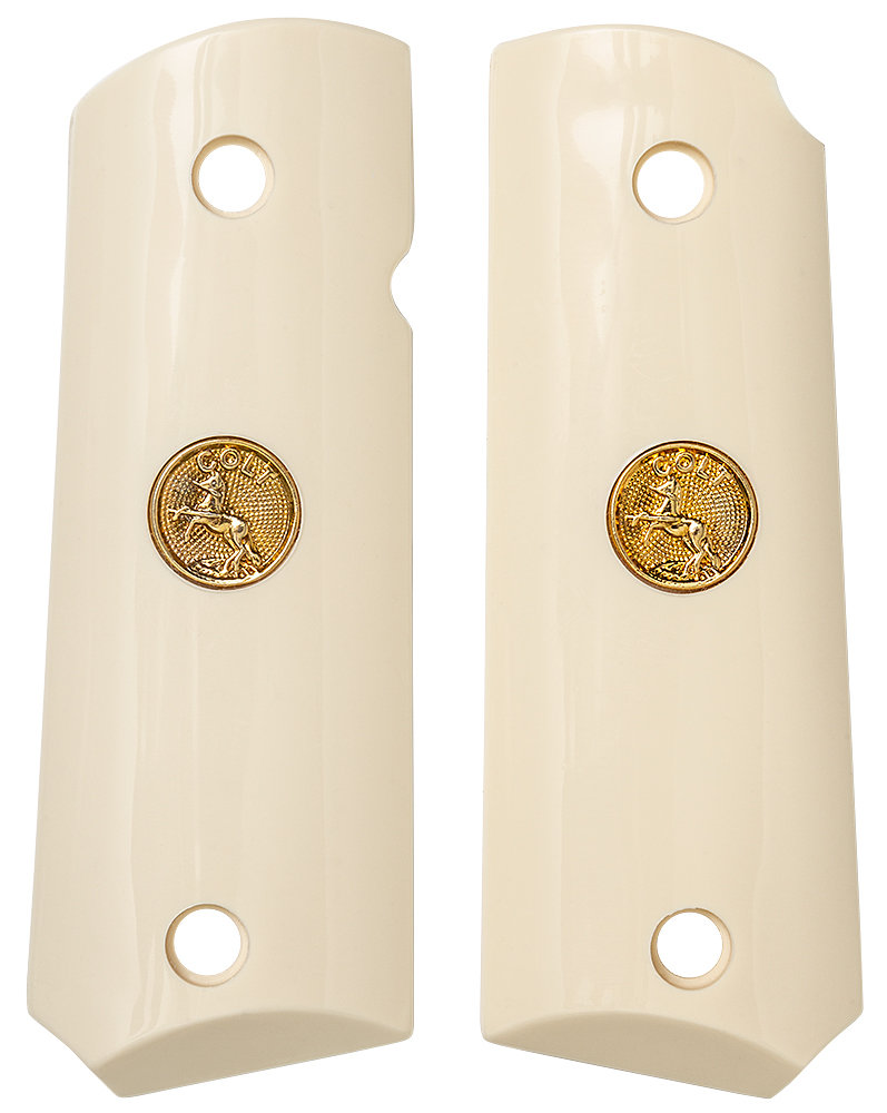 1911 Compact Sized Ivory Polymer with Gold Colt Medallion.