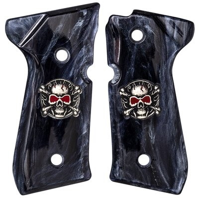 Beretta M9-92FS-96FS Coin Inlay Skull & Crossbones with red eyes