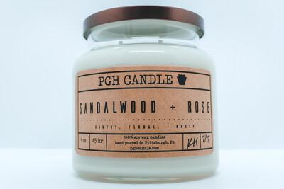 Sandalwood + Rose Soy Candle (2 Sizes)