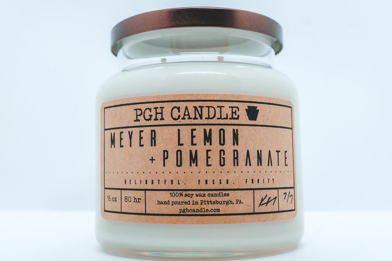 Meyer Lemon + Pomegranate Soy Candle (2 Sizes)
