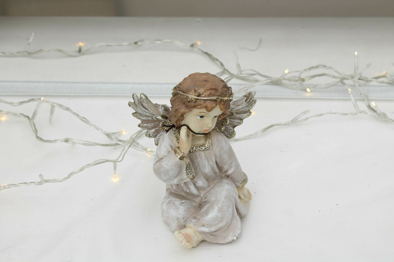 ANGELO SEDUTO DI RESINA ROSA ANTICO+LED H.14 CM
