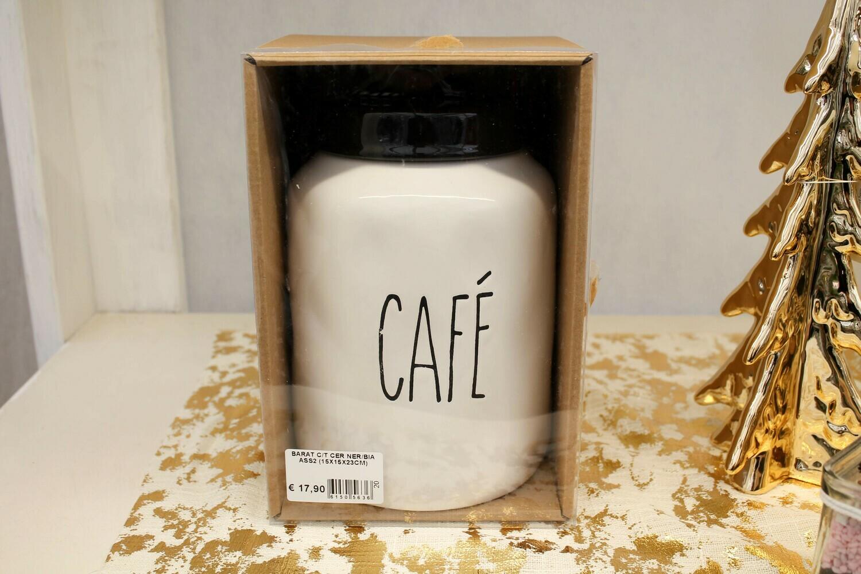 BARATTOLO CAFE' DI CERAMICA BIANCO/NERO H.20 CM