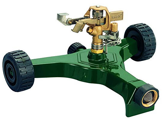 Brass Impact Sprinkler on a Metal Wheel Base