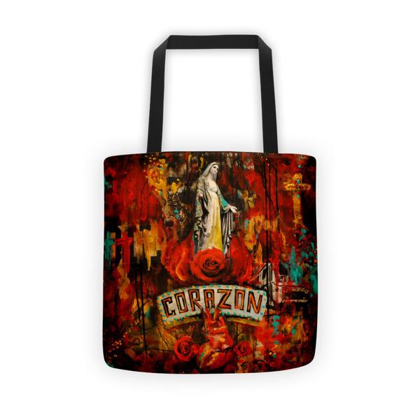 """""""Sacred Heart"""" Tote bag - by artist Gilbert Cantu"""
