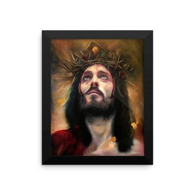"""In His Light"" Framed print of Jesus Christ by artist Gilbert Cantu"