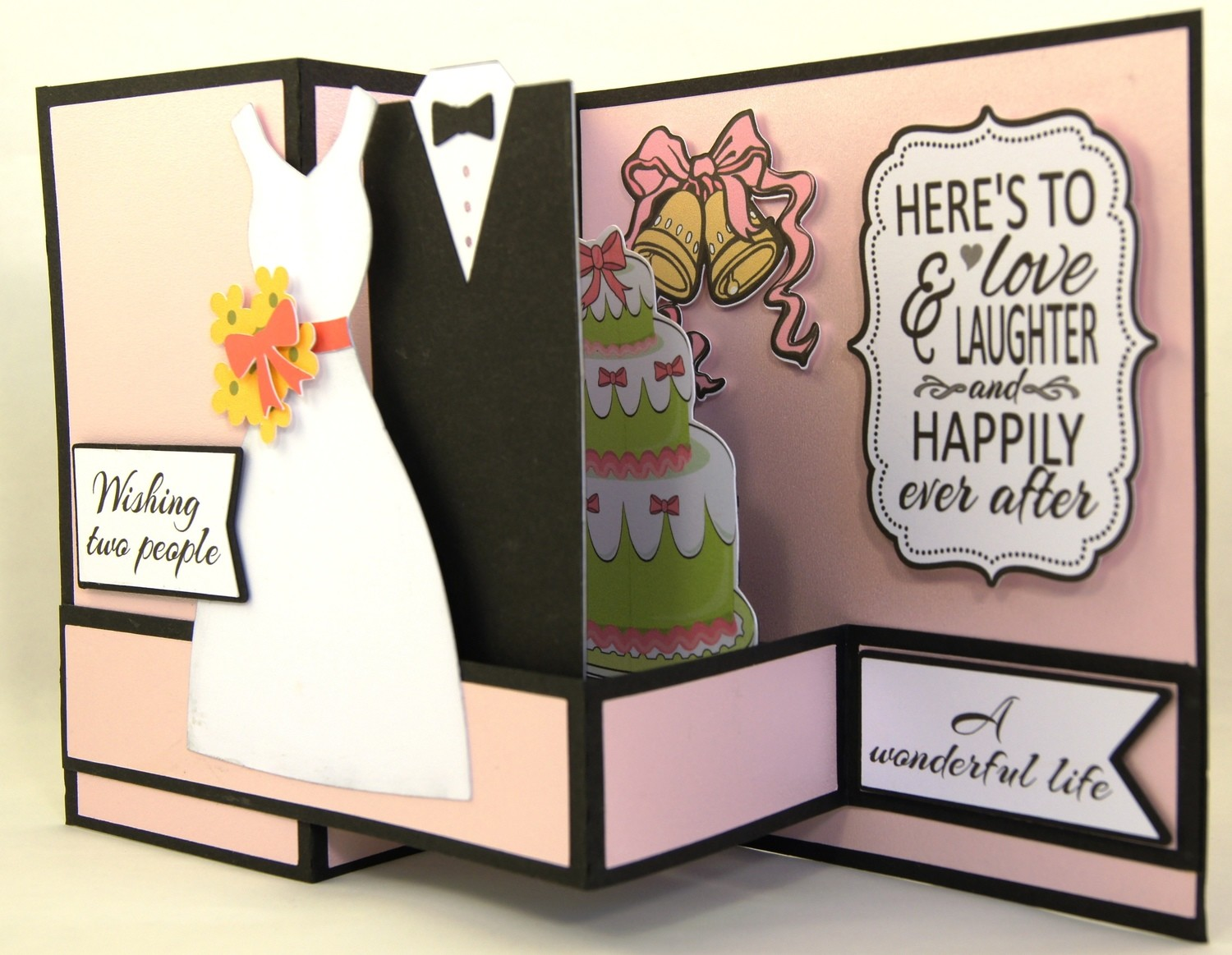 Pop-Out Wedding Card - pink metallic