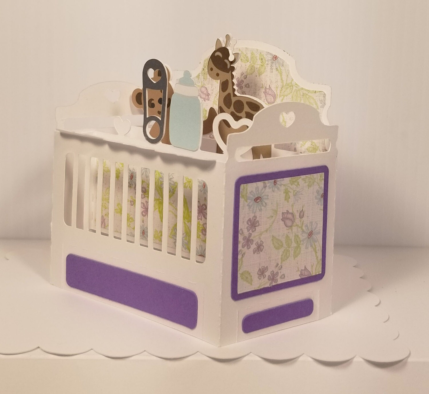 Baby Crib - White with Lavender