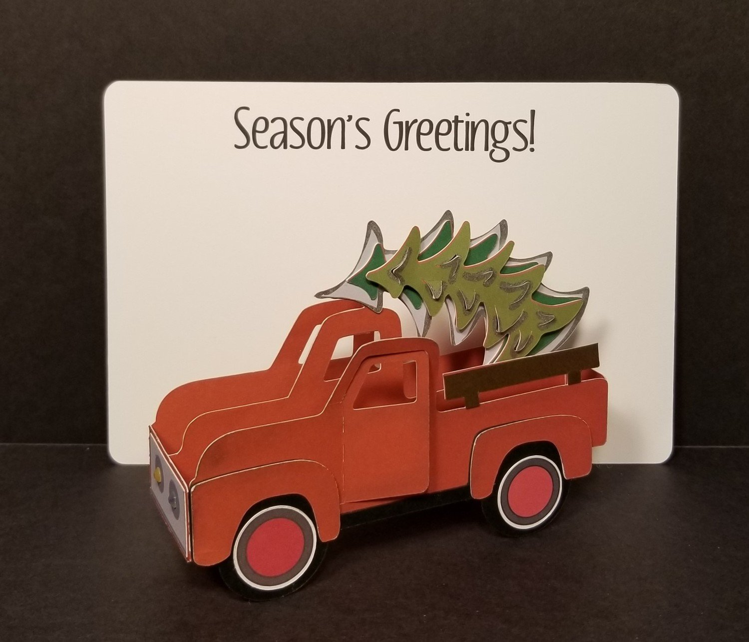 Vintage Red Truck with Tree
