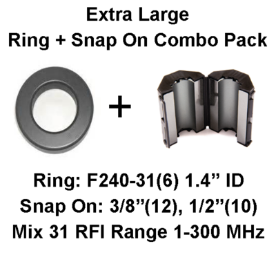 Extra Large Ring/Multi-Snap On Combo Pack, Mix 31, RFI Range 1-300 MHz - 28 filters