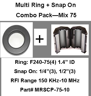 Multi-Ring/Multi-Snap On Combo Pack, Mix 75, RFI Range 150 KHz - 10 MHz - 10 filters