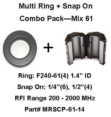 Multi-Ring/Multi-Snap On Combo Pack, Mix 61, RFI Range 200 - 2000 MHz - 14 filters