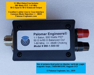 1:1 MINI-BALUN/Line Isolator, 50 Ohm input, 50 ohm Balanced Output 500 Watts PEP, 1-61 MHz, Ladder Line Interface to coax