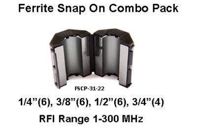 Ferrite Snap On Combo Pack, Mix 31, RFI Range 1-300 MHz - 1/4, 3/8, 1/2, 3/4 - 22 filters