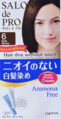 DARIYA SALON DE PRO Hair Dye Ammonia Free 06 Dark Brown 80g 日本塔丽雅DARIYA SALON DE PRO 白发专用无味染发膏 #6深棕色