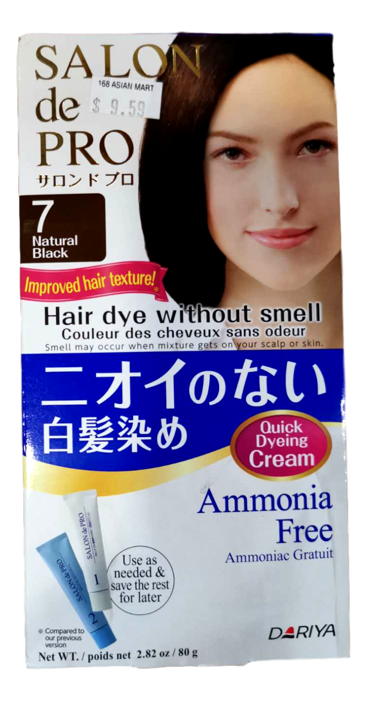 DARIYA SALON DE PRO Hair Dye Ammonia Free 07 Natural Black 80g 日本塔丽雅DARIYA SALON DE PRO 白发专用无味染发膏 #7自然黑色