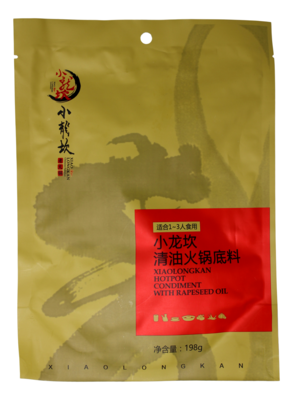 XIAO LONG KANG HOTPOT CONDIMENT WITH RAPESEED OIL 小龙坎 清油火锅底料(198G)