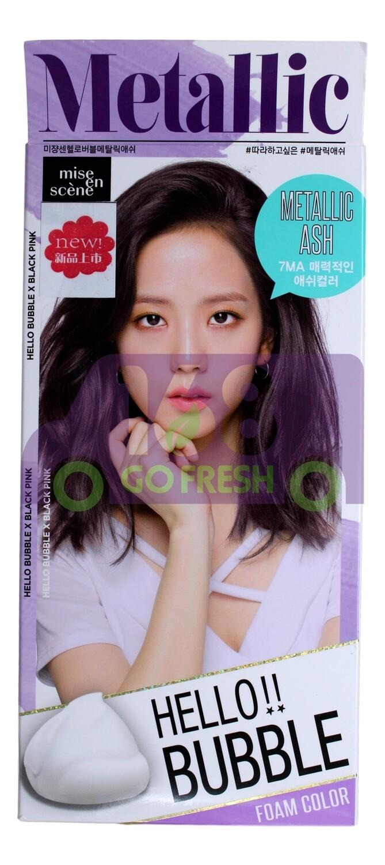 MISEENSCENE Bubble Foam Color #7MA Metallic Ash 韩国MISE EN SCENE爱茉莉植物纯泡沫染发剂#7MA金属灰