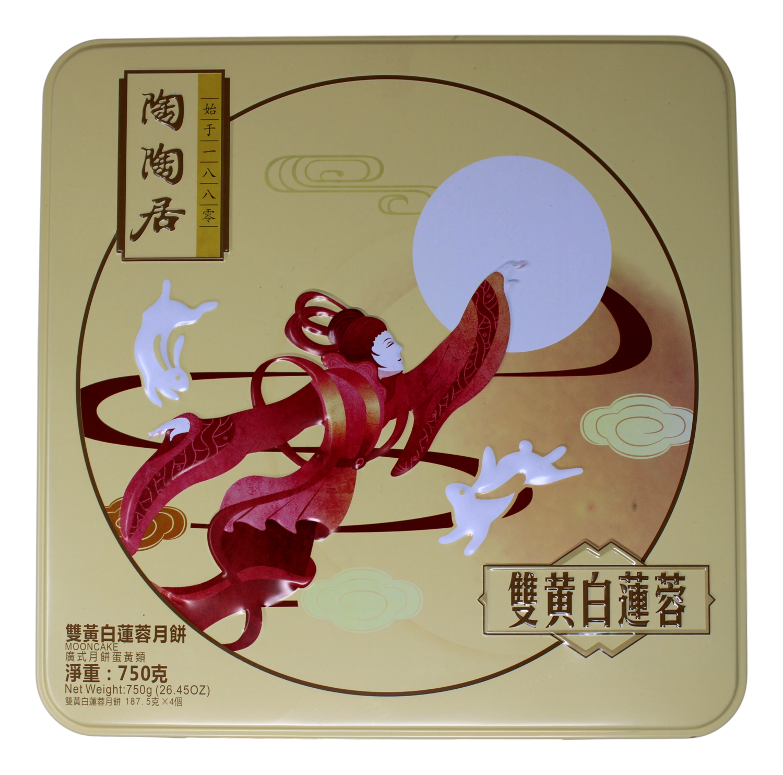 TAOTAOJU 2YOLK W/ WHITE LOTUS PASTE MOON CAKE 陶陶居 双黄白莲蓉月饼(4个装)