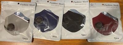 REUSABLE FACE MASK (1 Count) 非一次性的时装口罩带呼吸阀