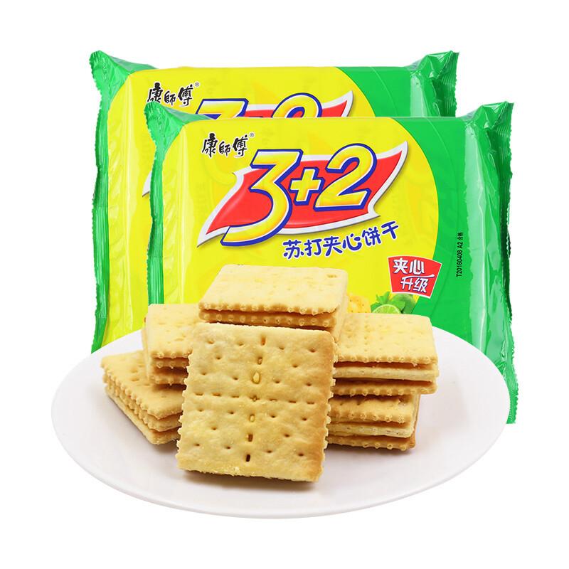 Soda Biscuit    康师傅 3+2苏打夹心饼干 清新柠檬味(300G)