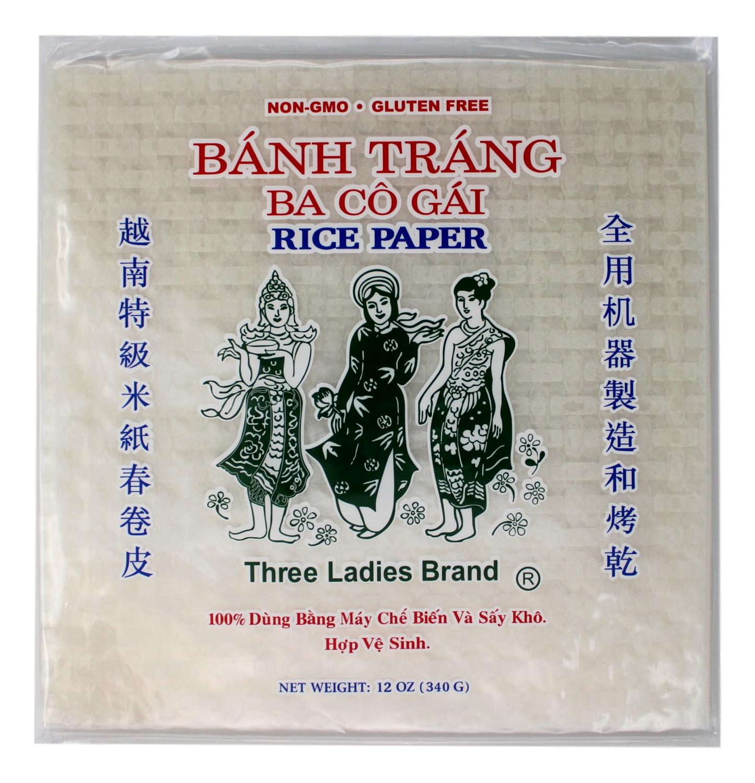 THREE LADY RICE PAPER 22CM 三仙女 越南特级米纸春卷皮(22CM)方形