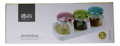 GLASS CONDIMENT BOXES (Round) 圆形玻璃调味盒(6955746207593)
