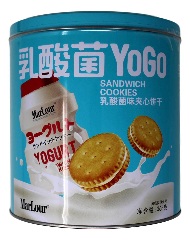 MARLOUR YOGO SANDWICH COOKIE MARLOUR 乳酸菌味夹心饼干(铁罐369G)