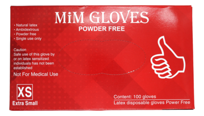 MiM Powder Free Gloves 一次性手套 尺寸XS(红)