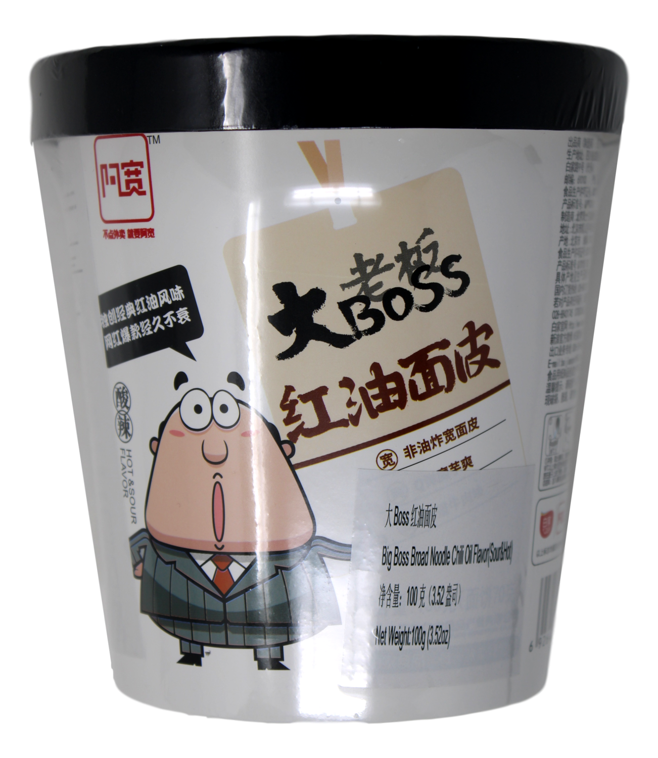 BIG BOSS BROAD NOODLE-CHILI OIL FLAVOR 大老板红油面皮(100G)