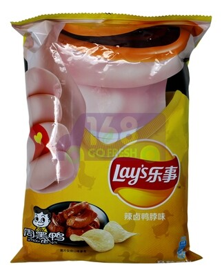 LAYS POTATO CHIPS-ZHOUHEIYA 乐事周黑鸭味辣卤鸭脖味薯片(65G)