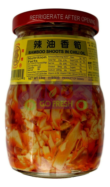 GOLDEN BUFFALO BAMBOO SHOOTS IN CHILI OIL 金牛 辣油香筍(13OZ)