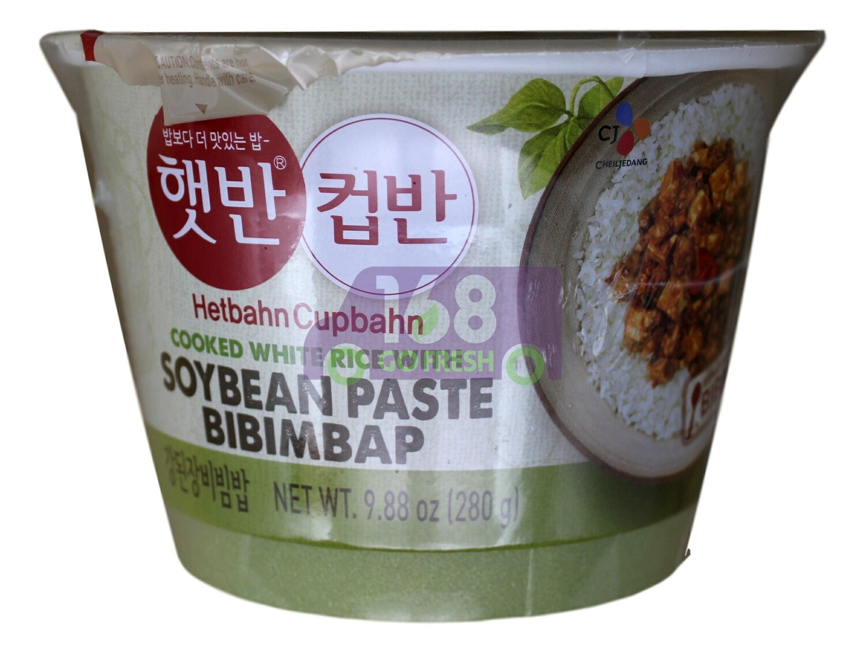 CJ COOKED WHITE RICE WITH SOYBEAN PASTE BIBIMBAP 韩国CJ 豆腐酱料调味即食米饭(280G)