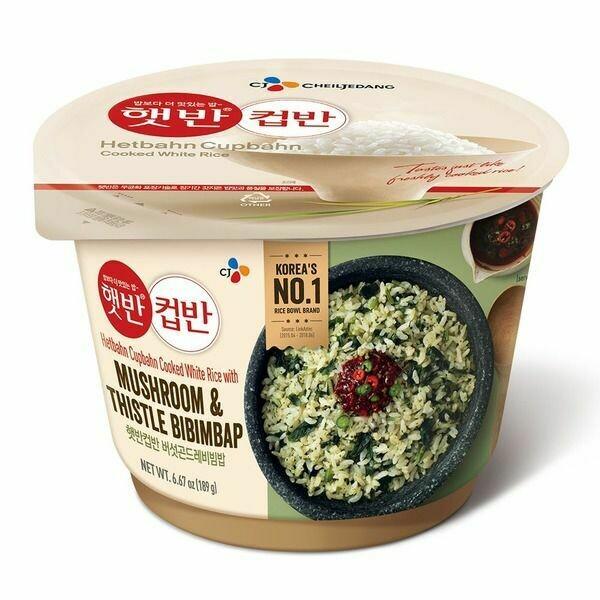 CJ Cooked White Rice Mushroom & Thistle Bibimbap 韩国CJ 香菇蓟叶调味即食米饭(270G)