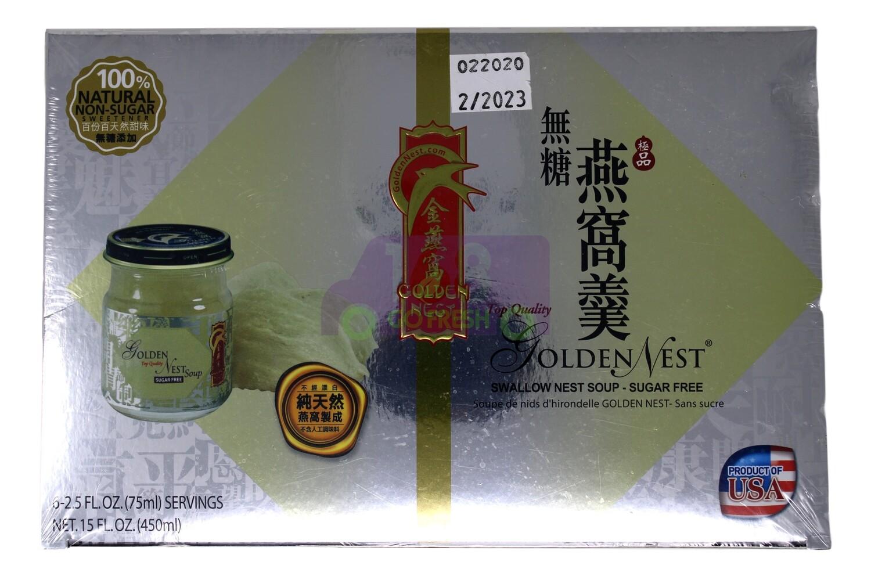 GOLDE NEST Top Quality Swallow Nest Soup-Sugar Free 6Bottles/450ml 金燕窝 极品无糖燕窝羹 6瓶入/450ml