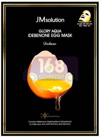 【ON SALE 热卖促销】JM SOLUTION GLORY AQUA IDEBENONE EGG MASK DELUXE 韩国JM鸡蛋3大抗氧化成分细致毛孔面膜10片装(原价$21.19)-鸡蛋图