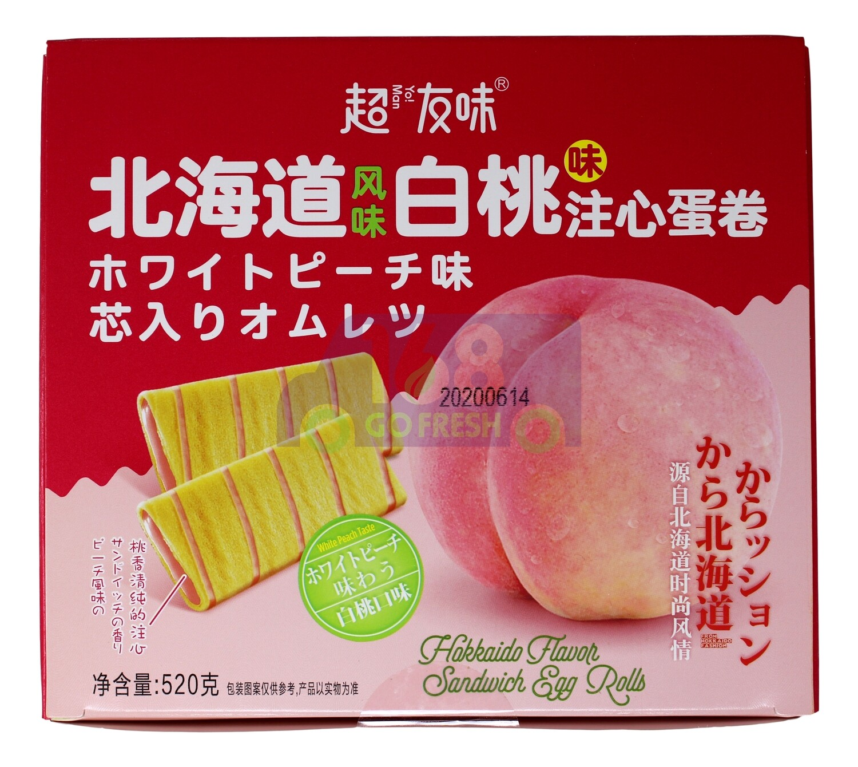 YOMAN PEACH EGG ROLL 超友味 北海道风味白桃注心蛋卷(520G)