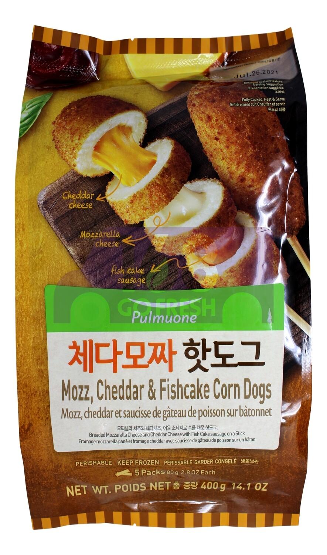 PULMUONE MOZZ, CHEDDAR & FISHCAKE CORN DOGS 韩式 芝士肉肠鱼饼棒(5条状)