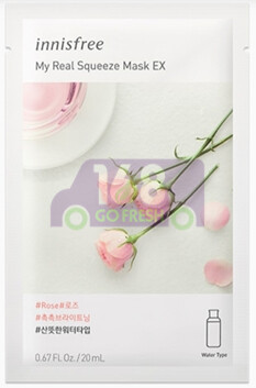 INNISFREE IT'S REAL SQUEEZE MASK - ROSE 韩国INNISFREE悦诗风吟 悦享鲜萃柔嫩光滑面膜-玫瑰 1片装