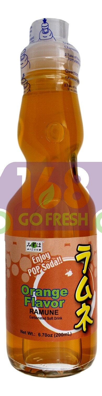 MIZUHO RAMUNE CARBONATED SOFT DRINK - Orange 日本 MIZUHO 橙味弹珠汽水(200 ML)