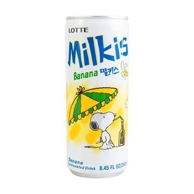 LOTTE MILKIS MILK AND YOGURT DRINK-BANANA(6 CANS) 韩国 乐天香蕉味乳酸奶(6瓶装)(8.45OZ)