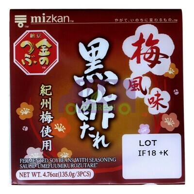 MIZKAN FERMENTED SOYBEANS WITH SEASONING SAUCE(UMEFUUMIKUROZUTARE) MIZKAN 纳豆 黑醋梅风味(4.7OZ)073575010811