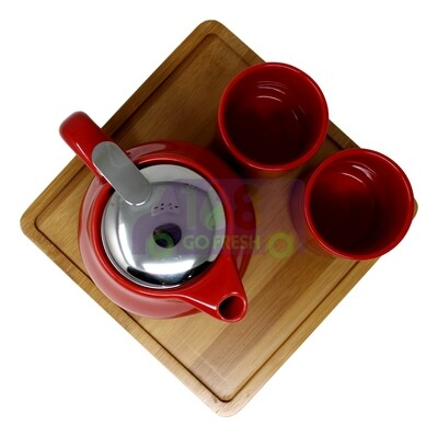 CERAMIC TEAPOT W/ INFUSER & CUP GIFT SET 带浸泡茶壶和茶杯带垫板 礼盒装(红)4539429154064