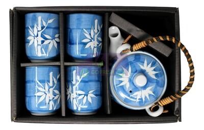 CERAMIC TEAPOT W/ INFUSER & CUP GIFT SET 带浸泡茶壶和茶杯 礼盒装(蓝 竹子)4539429152855