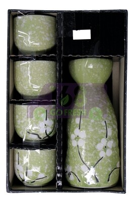 SAKE SET TOUGEI 日式 4个清酒杯加壶 礼盒装(绿)6682019061759