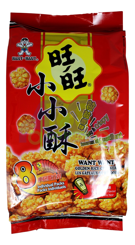 WANGWANG GOLDEN RICE CRACKERS-BLACK PEPPER  旺旺小小酥 黑胡椒(8小包)